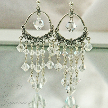 Handmade Sterling Silver Bridal Swarovski Crystal Chandelier Earrings