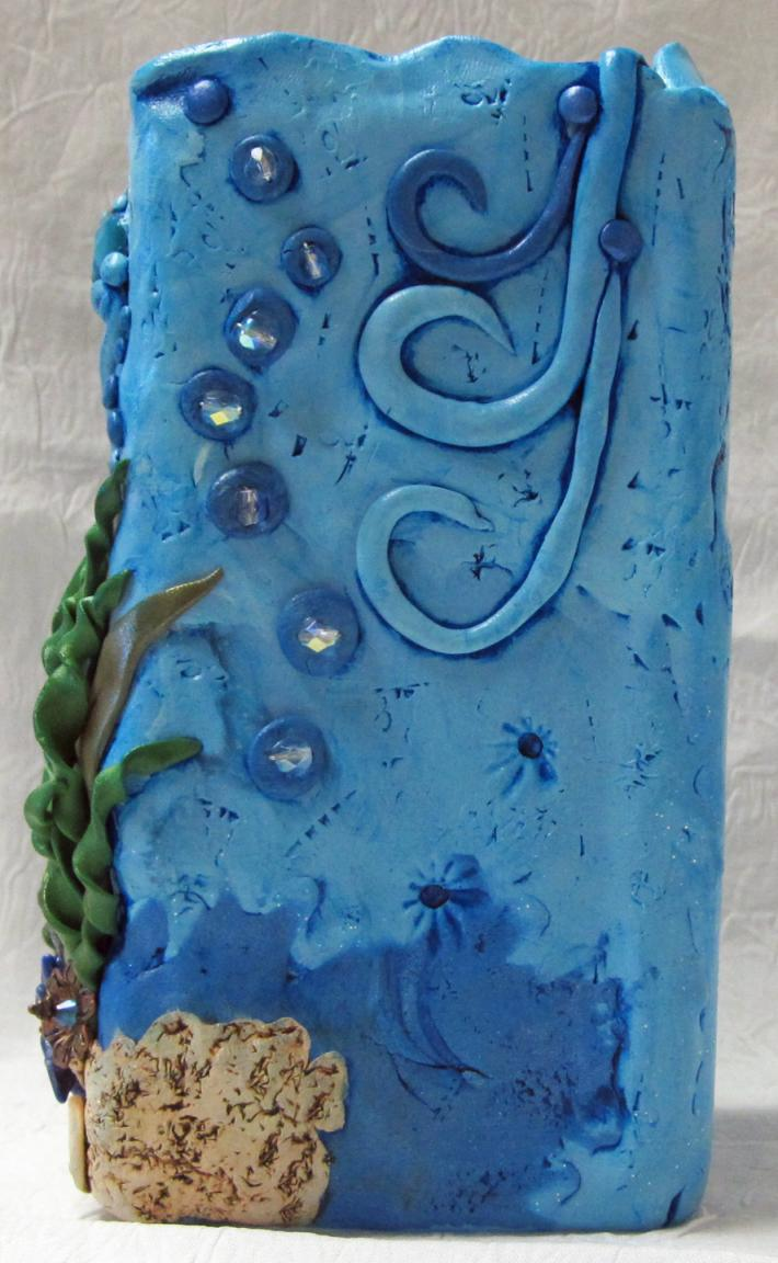 Hand sculpted Polymer Clay Vase Dolphin Ocean Theme