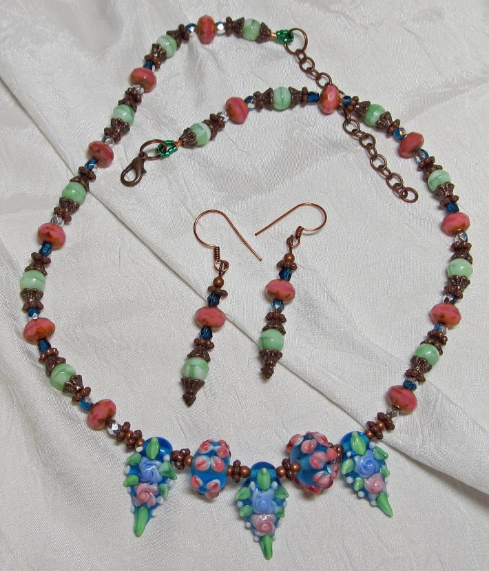 Lampwork Bead and Copper Necklace w Earrings