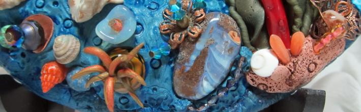 Polymer Clay Plate With Ceramic Octopus Ocean Scene