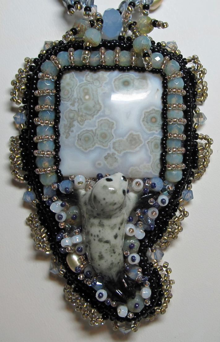 Bead Embroidery Necklace Baby Seal Ocean Jasper Swarovski