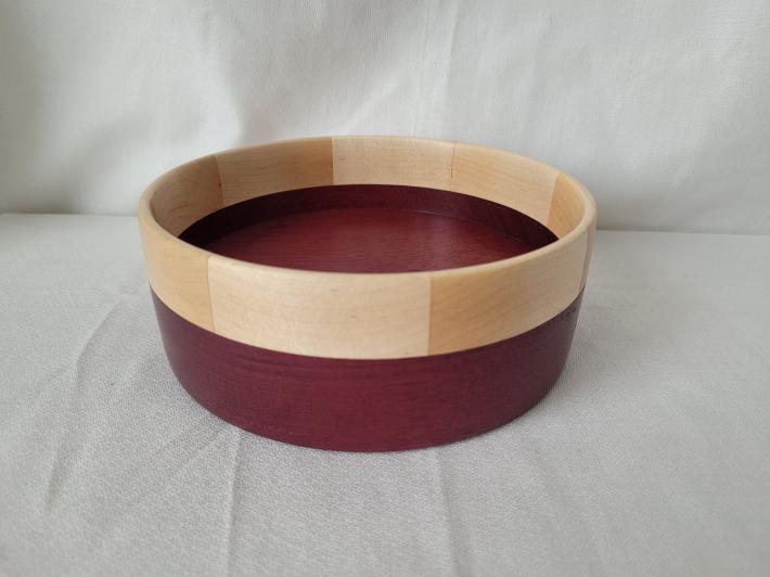 Purpleheart Bowl with Maple Segmented Rim
