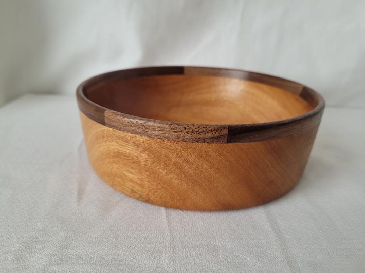 Mahogany Bowl with Walnut Segmented Rim