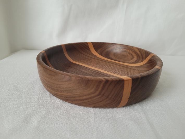 Walnut with Cherry Striped Bowl