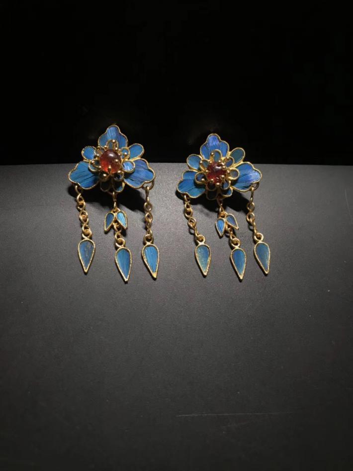 Vintage flower earrings Ruby earrings Tassel earrings