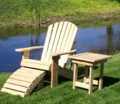 Adirondack Chair Table and Ottoman with Stainless Steel Hardware