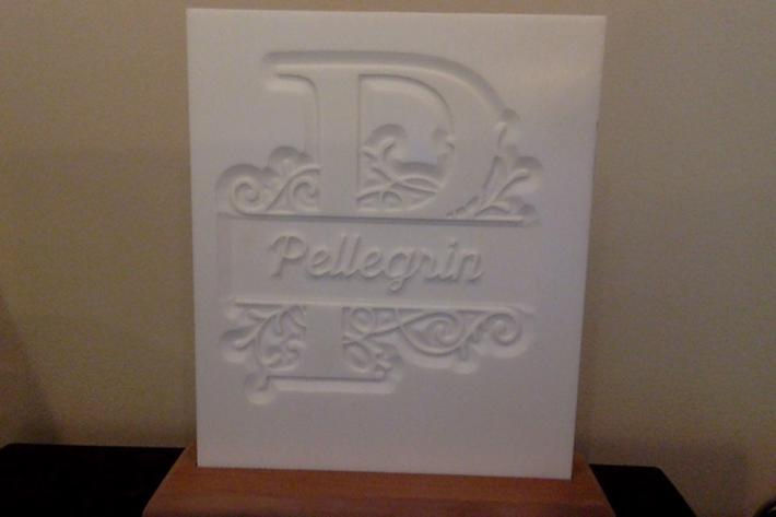Carved Lithogram Monogram with Name