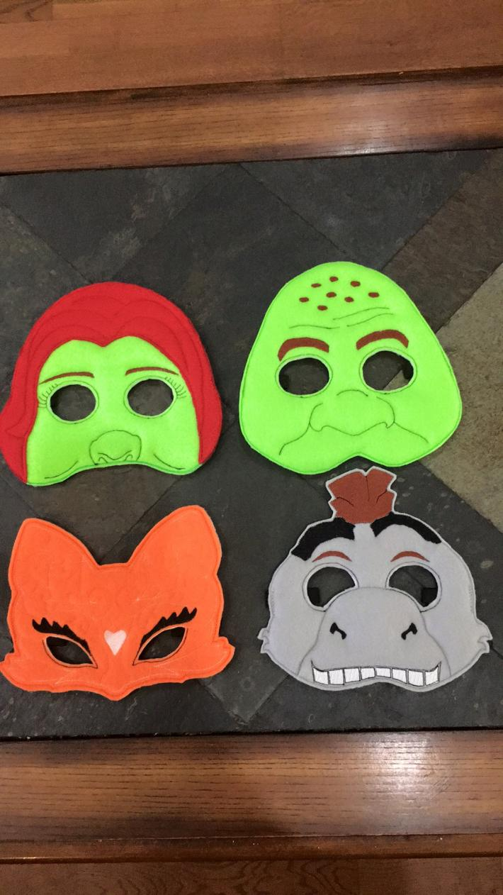 Felt Embroidered Character Masks