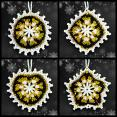 Black and Gold Mosaic Ornaments Set