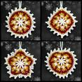 Burgundy and Gold Mosaic Ornament Set
