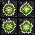 Emerald and Gold Mosaic Ornament Set