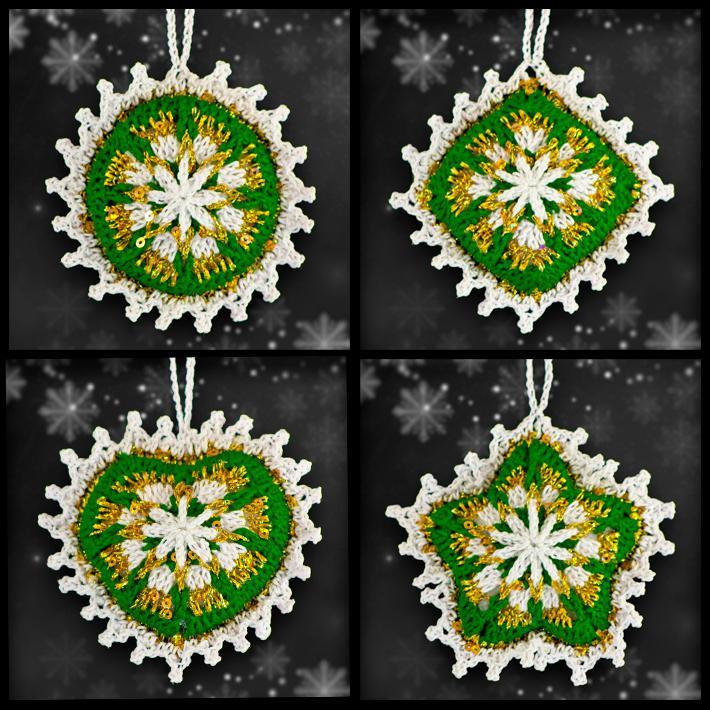 Emerald and Gold Mosaic Ornament Set