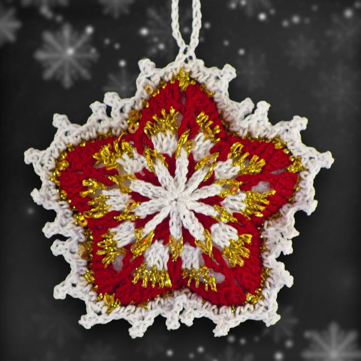 Red and Gold Mosaic Ornament Set