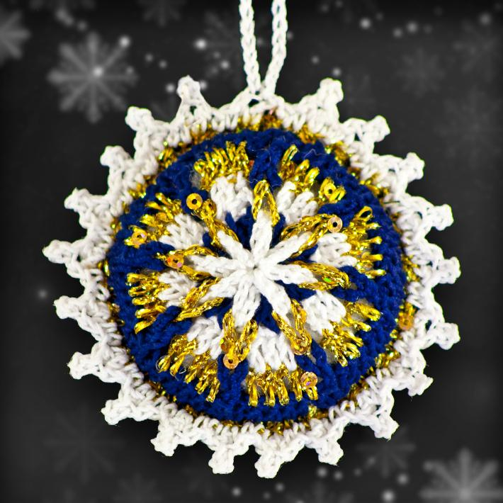 Royal Blue and Gold Mosaic Ornament Set