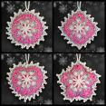 Pink and Silver Mosaic Ornament Set