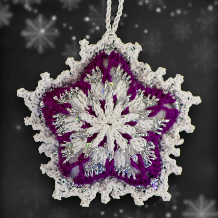 Plum and Silver Mosaic Ornament Set