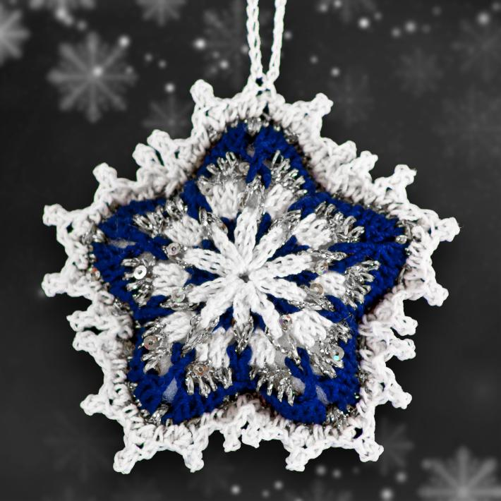 Royal Blue and Silver Mosaic Ornament Set