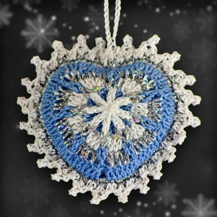 Sky Blue and Silver Mosaic Ornament Set