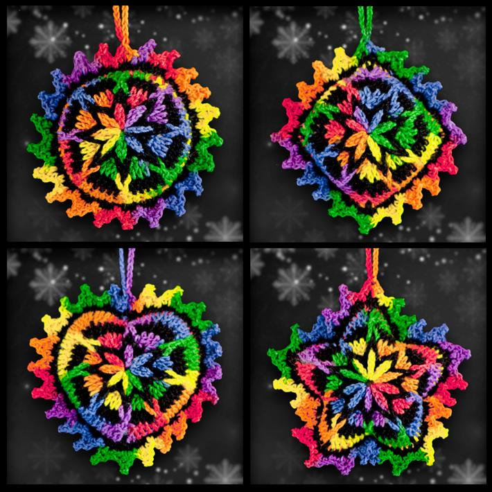 Shades of Rainbows Mosaic Ornament Set