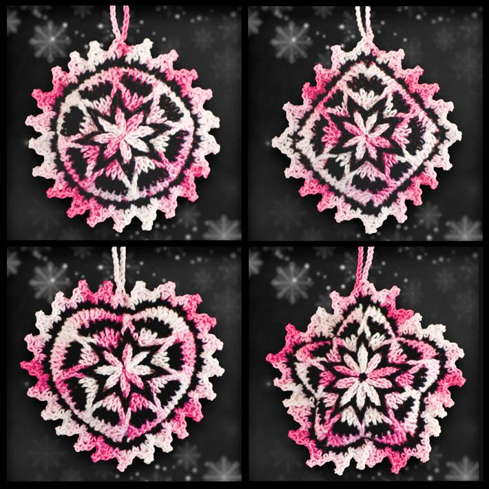 Shades of Pink Mosaic Ornament Set
