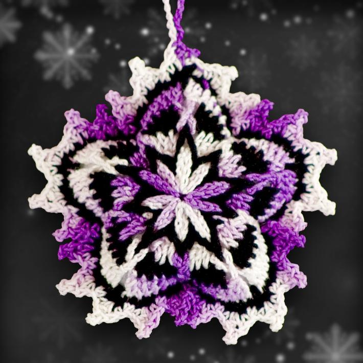 Shades of Purple Mosaic Ornament Set