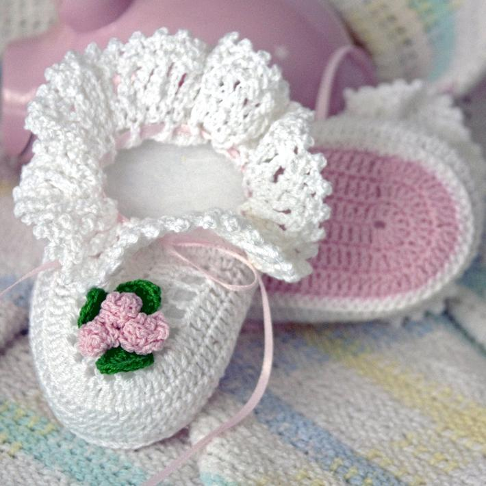 Princess Rose Baby Booties