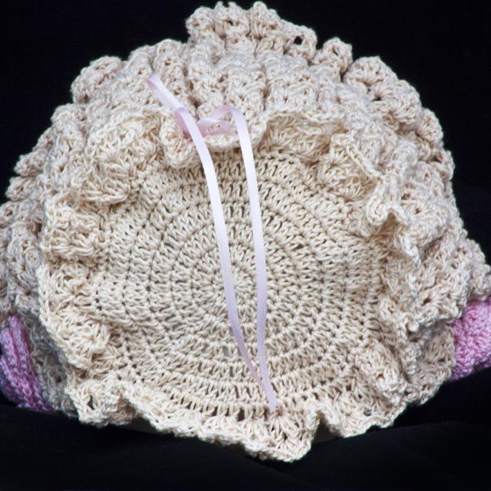 Ecru Lacy Smocked Baby Bonnet