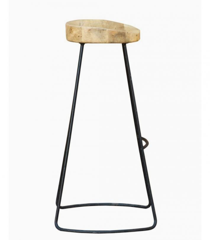 Wooden metal bar and kitchen stool set of 2