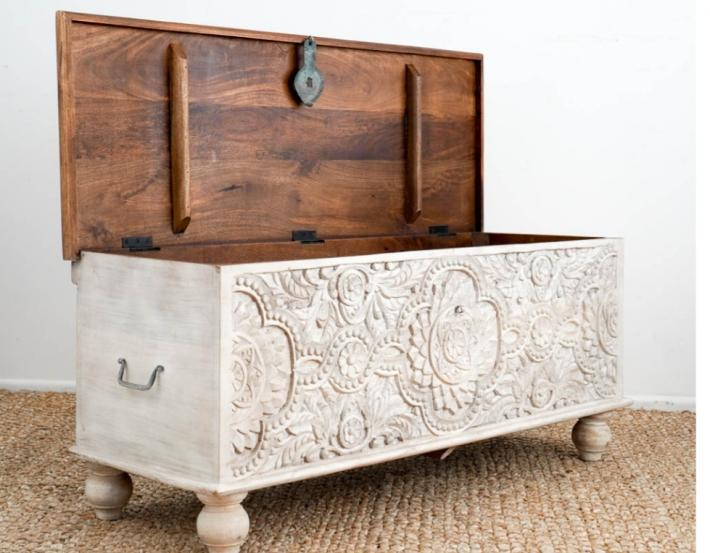 Decorative handcrafted wooden box with wonderful carved timber detailing