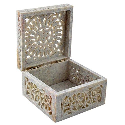 Floral Carving Decorative Box for Jewellery Storage Gift soapstone
