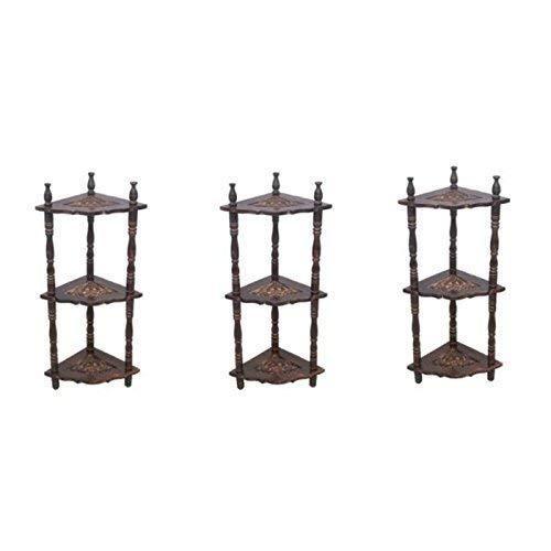 Wooden Mini Corner Rack Side Table Wall Shelf Home Furniture Corner Rack setof 3