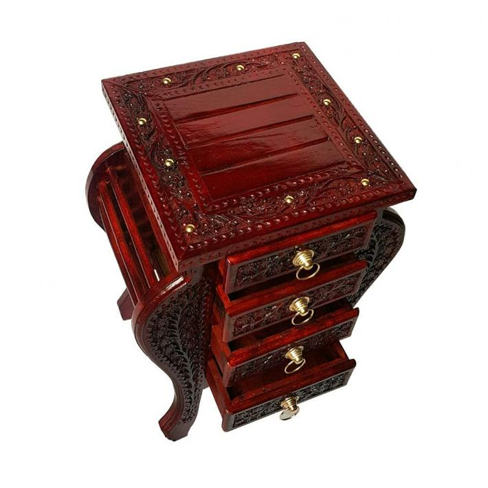 Floral Craved Bedside Table with Drawers End Table for Living Room  Bedroom Home Decor Furniture
