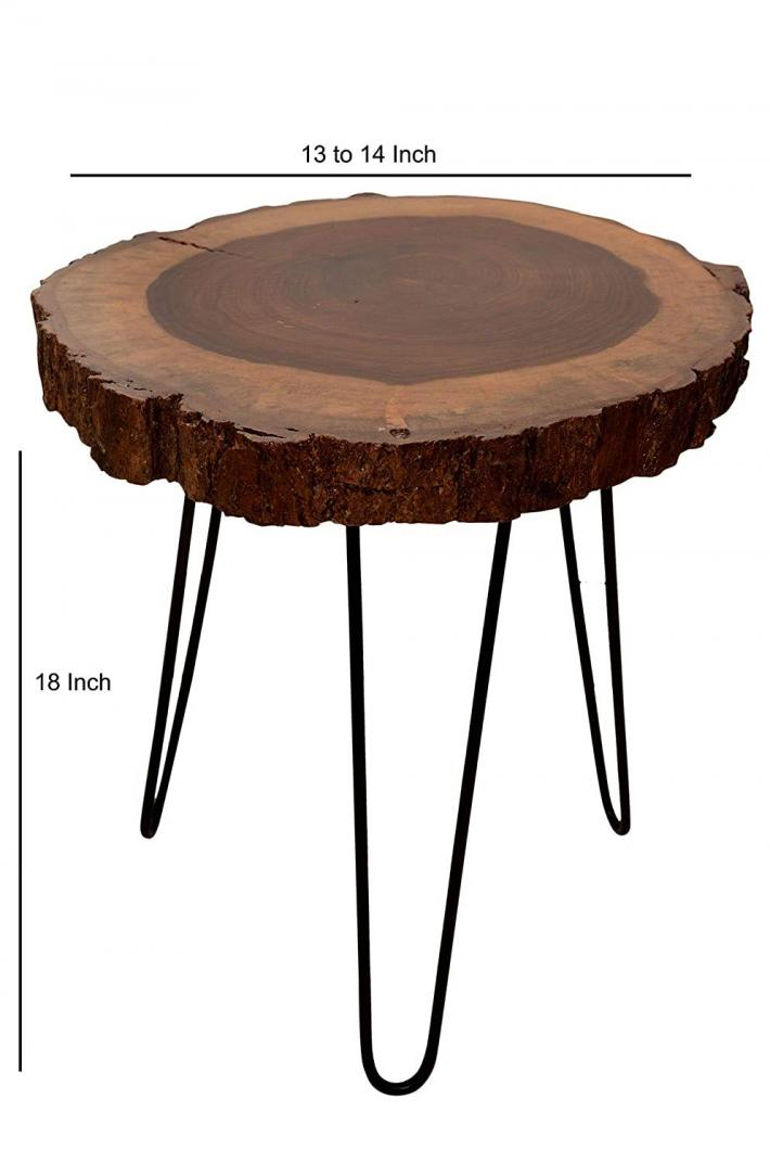 Iron Wrought and Sheesham Natural Glossy Finish Contemporary End Table for Home Decor