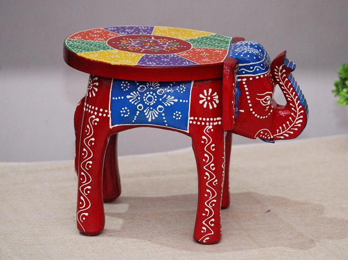 Handcrafted and Emboss Painted Colorful Wooden Elephant Shape Stool