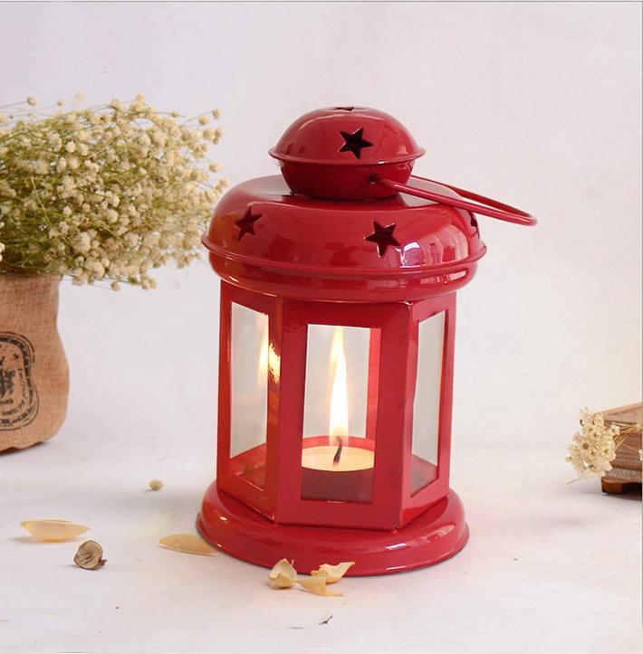 Hanging Lantern Decorative Tea Light Holder Home Decor Iron Lamp with Candle