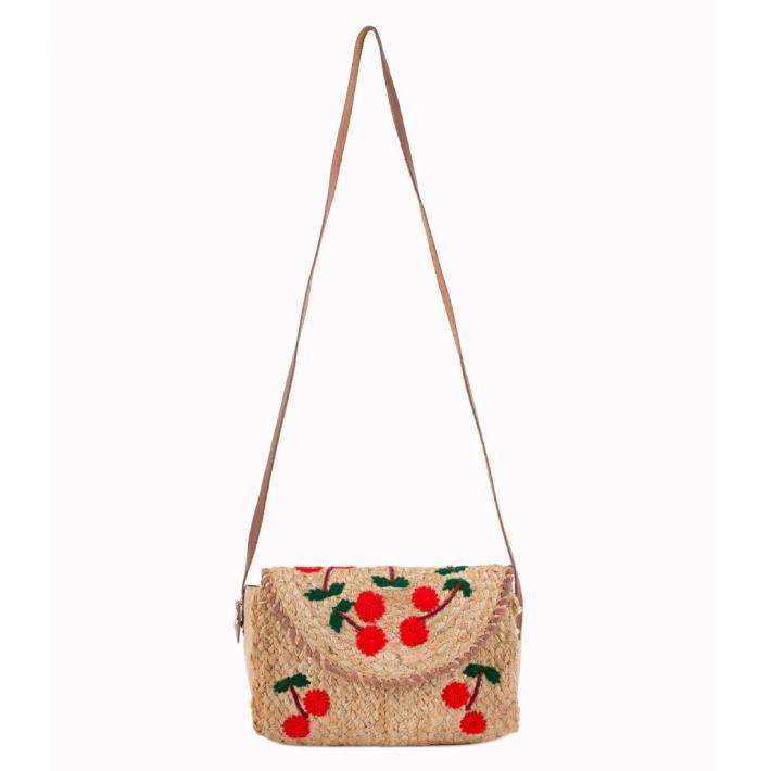 Embroidered Jute Sling Bag