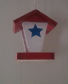 Red white blue bird feeder