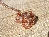 Copper wire Mobius wrapped pendant chained necklace