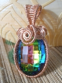Rainbow Vitral crystal copper wire wrapped large bail pendant