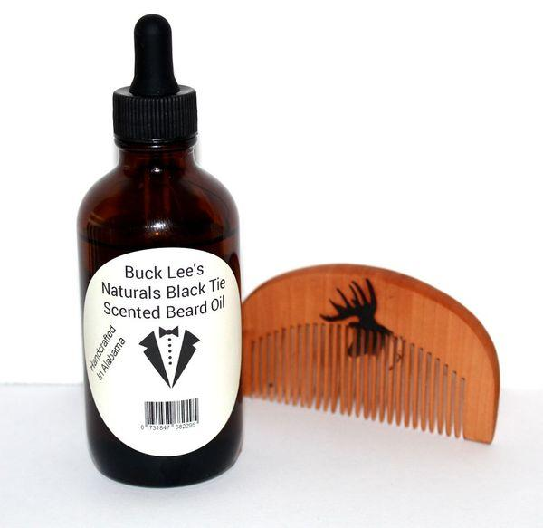 Buck Lees Naturals Black Tie Scented Beard Oil and Sandalwood comb
