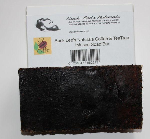 Buck Lees Naturals Coffee And Tea Tree Infused Soap Bar