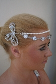 1920s Flapper Style Brow Tiara Headpiece with Crystals Rhinestones and Freshwater Pearls