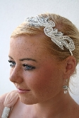 Beaded Pearl and Sequin Applique Bridal Headband