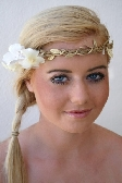 Flower Vine Crown Plaited with Gold Leaf Trim and Lemon and White Flowers