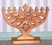 Handmade Wooden Stained Hanukkah Menorah