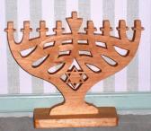 Handmade Wooden Stained Hanukkah Menorah