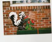 Handmade wooden custom painted Stop to Smell the Roses Skunk sign fo