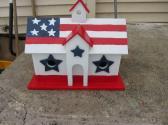Handmade Custom Wooden Functional Patriotic Birdhouse