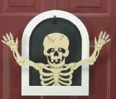 Handmade Wooden Halloween Happy Skeleton door decoration
