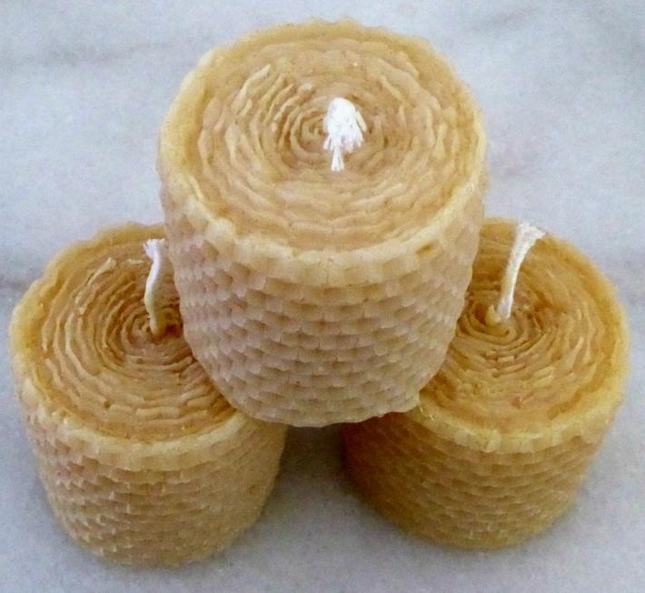 Solid Votive Beeswax Candle Trio